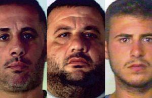Casalnuovo, i tre arrestati: da sx Federico Gallucci, Giuseppe Mosti ed Emanuele Chirivino