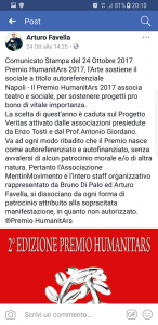 Comunicato del 24 ottobre di Arturo Favella, responsabile di Mentinmovimento
